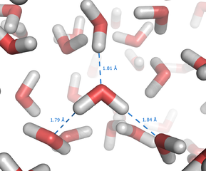 Schematic drawing of water molecules forming hydrogen bonds