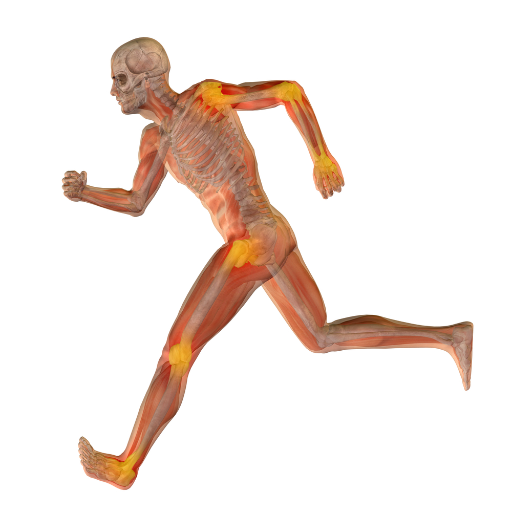 Man running made of a skeleton and transparent body